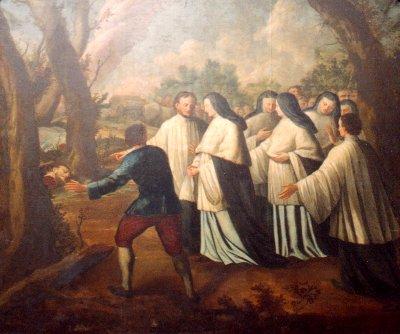 Découverte des restes de Saint-Feuillien (gravure du chœur de la Collégiale de Fosses-la-Ville)