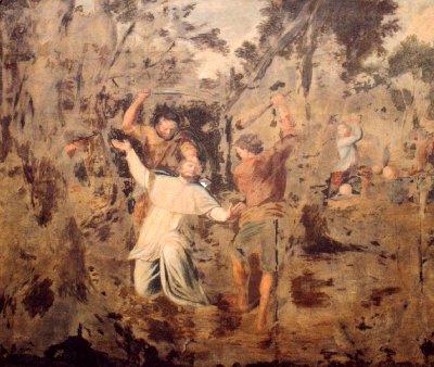 Assassinat de Saint-Feuillien (gravure du chœur de la Collégiale de Fosses-la-Ville)