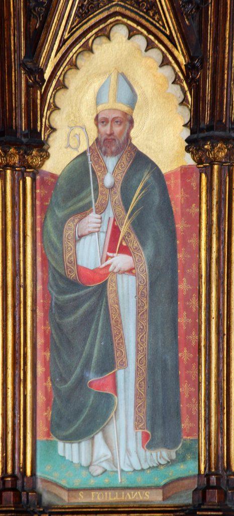 Représentation de Saint Feuillien (autel latéral de l'église Saint-Nicolas du Roeulx)