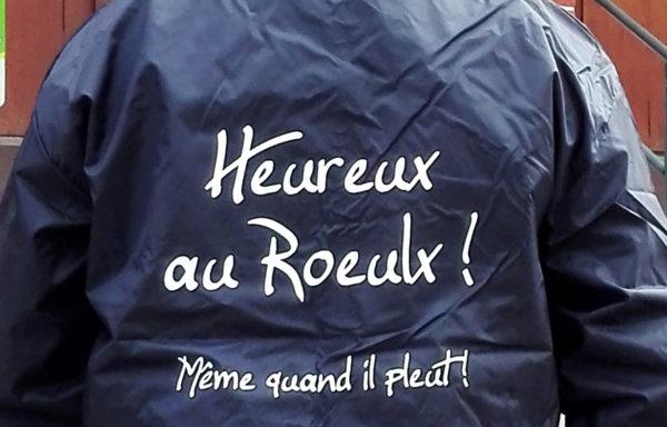 """Coupe-vent """"Heureux au Roeulx ! Même quand il pleut !"""""""